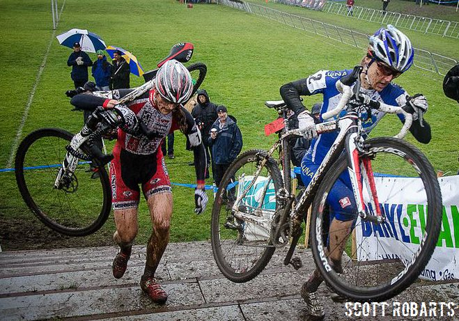 Mical Dyck and Catharine Pendrel in the 2013 Canadian Cyclocross Championship women's elite race. © Scott Robarts