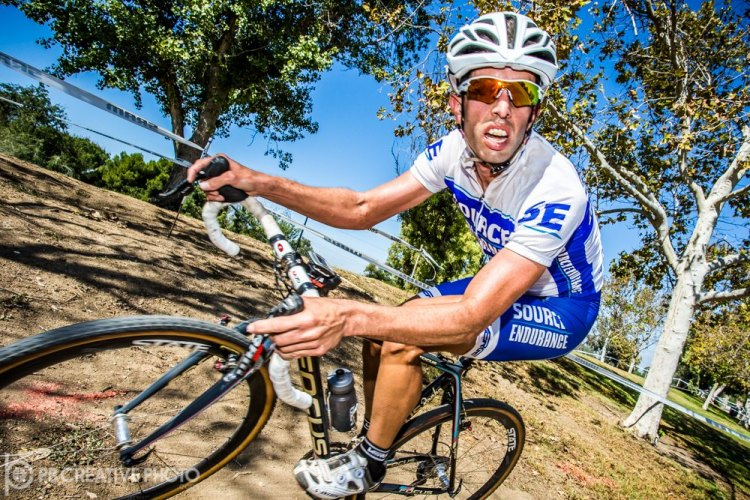 Adam Mills (Source Endurance) made a rare SoCal CX appearance and won 35+ A in a photo finish. © Philip Beckman/PB Creative