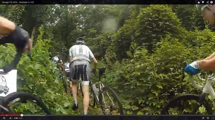 At the Savage CX race, riders start on what seems to be a cyclocross course, and then it takes a turn into adventure racing. Screenshot from video by Gravel Cyclist