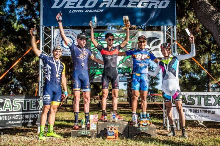 The Men's Elite A podium (l-r): Rex Roberts (Velo Allegro, 5th), John Behrens (Velo Hangar, 3rd), Jean-Louis Bourdevaire (Blackstar, 1st), Alfred Pacheco (Buena Park Bicycles, 2nd) and Bryson Perry (DNA Cycling, 4th). © Philip Beckman/PB Creative