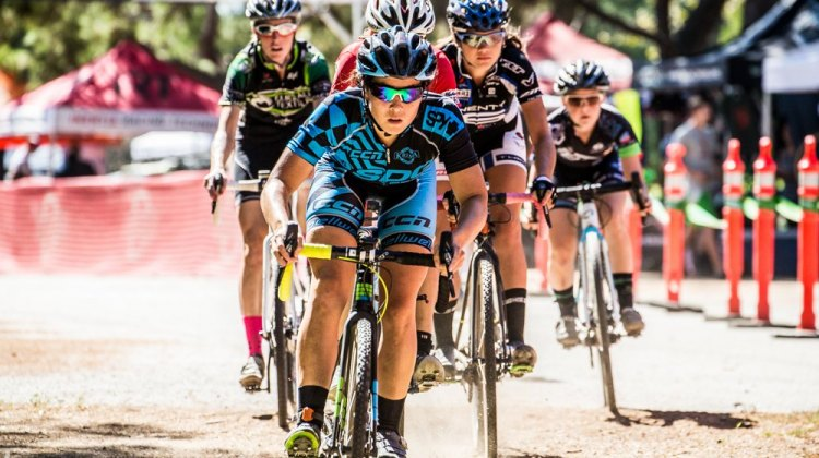 Amanda Nauman (SDG/Bellwether/Krema Peanut Butter) has had a clear view during every lap of Women's Elite A so far this season. © Philip Beckman/PB Creative
