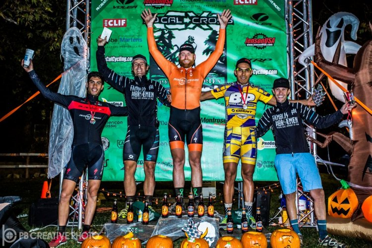 Men's Elite A podium (l-r): Jean-Louis Bourdevaire (Blackstar, 4th), Elliot Reinecke (Famous Horsemen, 2nd), Brandon Gritters (Rock N' Road/Big Red, 1st), Alfred Pacheco (Buena Park Bicycles, 3rd) and Gareth Feldstein (Famous Horsemen, 5th). © Philip Beckman/PB Creative