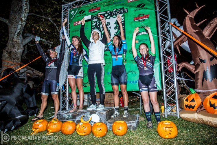 "Women's Elite A podium (l-r): AJ Sura (G2 Bike, 5th), Summer Moak (Felt/K-Edge, 2nd), Amanda ""Panda"" Nauman (SDG/Bellwether/Krema, 1st), Christine Pai (Knobbe Martens, 3rd), McKenzie Melcher (Jenson/The TEAM SoCalCross, 5th). © Philip Beckman/PB Creative"