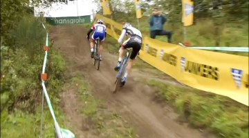 Too much power: van der Poel slides out chasing van der Haar - Superprestige Gieten 2014 (Vier.be screenshot)