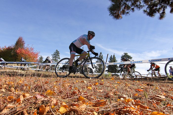 Riders cruise through the fallen leaves in Bend. © Pat Malach