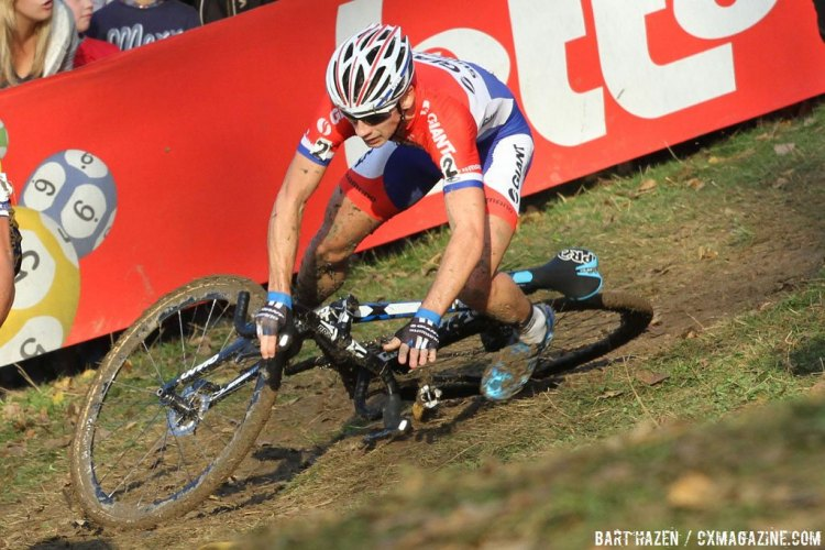 Lars van der Haar took a spill on a tricky corner and had to chase to finish 6th. © Bart Hazen / Cyclocross Magazine