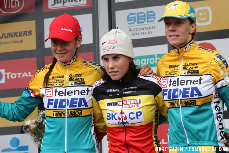 Women's Elite Podium: Sanne Cant took first, with Nikki Harris in second and Ellen van Loy in third. © Bart Hazen