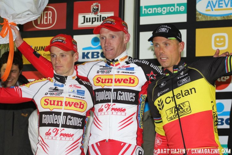 Sven Nys, Klaas Vantornout, and Kevin Pauwels made up the Men's Elite podium. © Bart Hazen