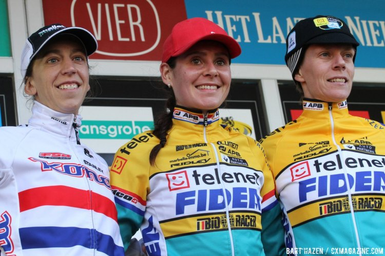 Nikki Harris, Helen Wyman and Ellen van Loy made up the podium Sunday at Spa-Francorchamps. © Bart Hazen