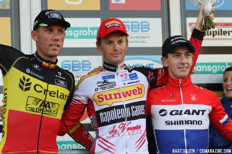 Kevin Pauwels stands atop the podium in Zonhoven, with Sven Nys and Lars van der Haar joining. © Bart Hazen