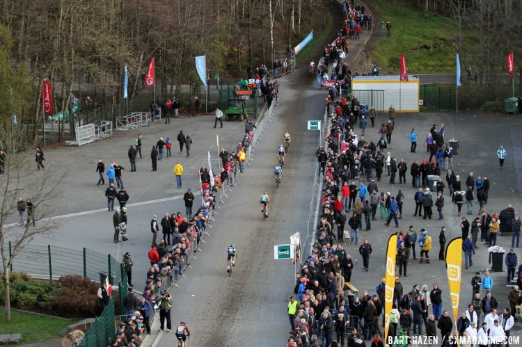 Spa-Francorchamps includes racing on some of the most notorious tracks and turns in both the cyclocross and motor racing world. © Bart Hazen