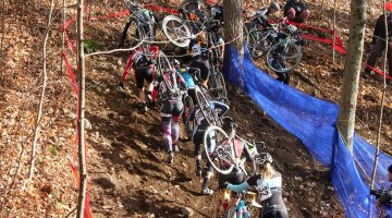 The elite races included a few technical sections that proved many to run. © Andrew Reimann