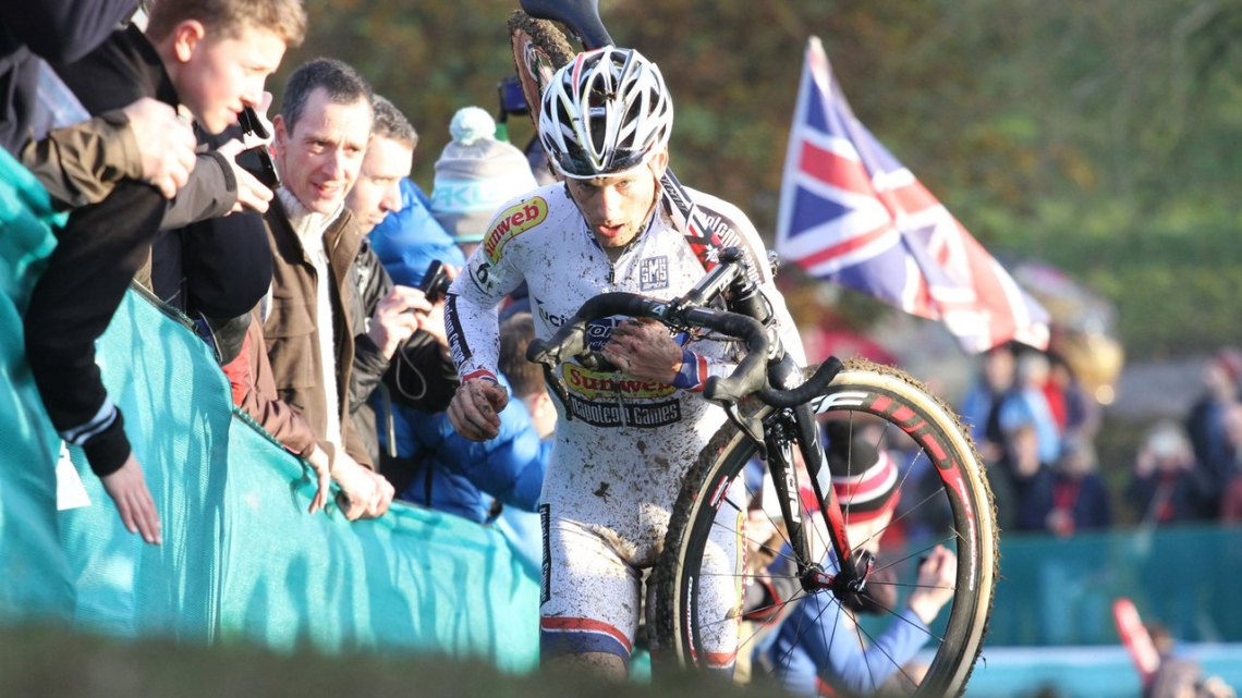 Pauwels storms up one of the run-ups in Great Britain's first ever World Cup. © Bart Hazen