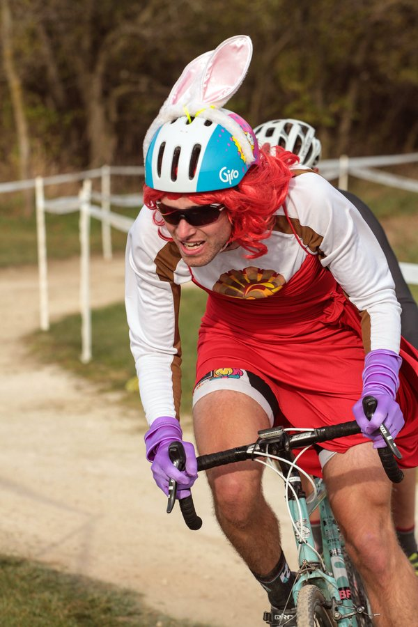 Lucas Seibel (Chicago, IL) - returning from the Single Speed Cyclocross World Championships in Louisville, Kentucky - had a different cosutme for both the Single Speed race and the Men's Elite race. © Eric Goodwin