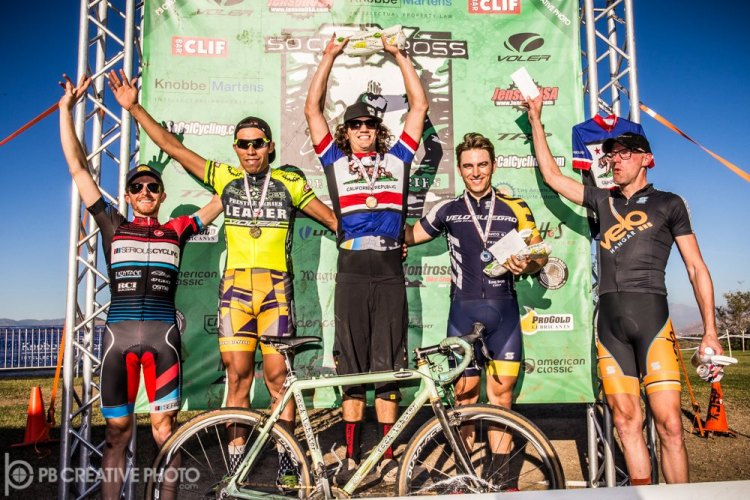 The Men's A podium at Anza Crossing (l-r): Scott Lundy, Alfred Pacheco, Andrew Juiliano, Rex Roberts and John Behrens. © Philip Beckman/PB Creative