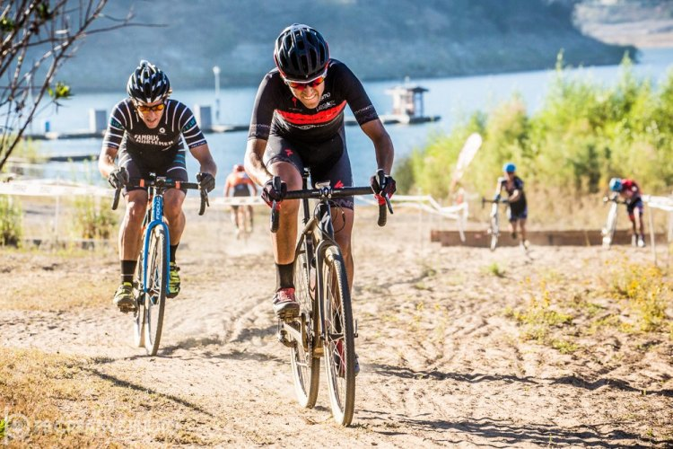 Brian Gordon and Elliot Reinecke grind up from Lake Hodges late in Men's Cat 1. Birthday boy Gordon had a shot, then took a shot. © Philip Beckman/PB Creative