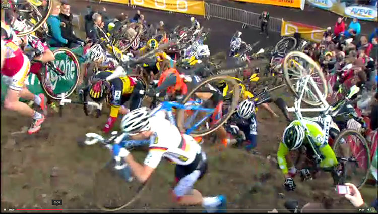 The world's best cyclocrossers were forced to crawl up the run-ups.