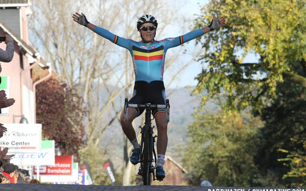 Sanne Cant celebrates in her Belgium jersey after a ride against an competitive field. © Bart Hazen.
