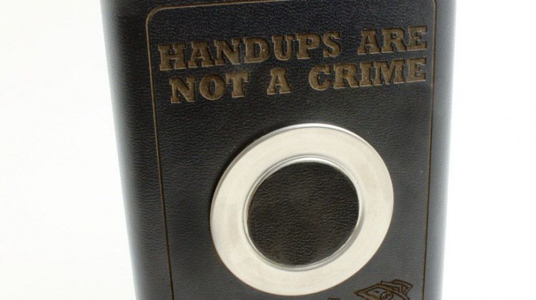They're back in limited supply. Our famous Handups Are Not a Crime Flasks.