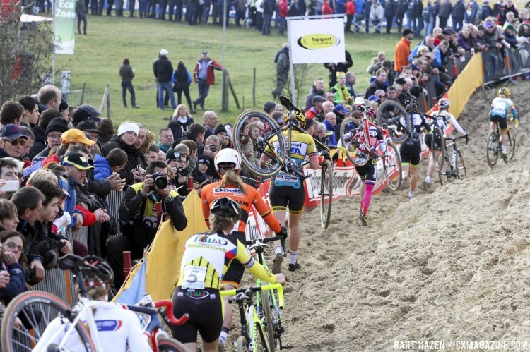 Often only the leader gets to ride the dunes on early laps. 2014 Koksijde UCI Cyclocross World Cup, Elite Women. © Bart Hazen / Cyclocross Magazine