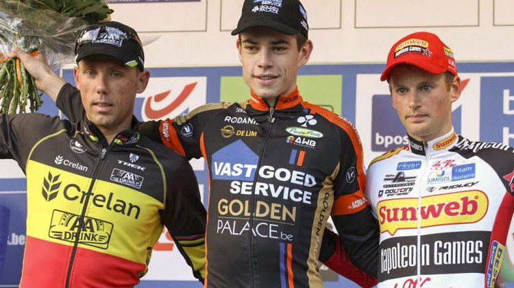 Wout van Aert wins Koppenbergcross over Sven Nys and Kevin Pauwels. © Bart Hazen / Cyclocross Magazine