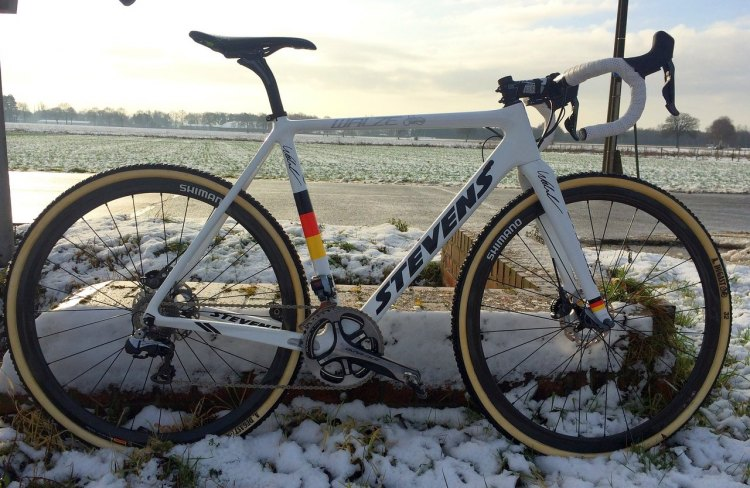 Philipp Walsleben's BKCP-Powerplus bike will match his kit, primarily white with the colors as the German National Champion.