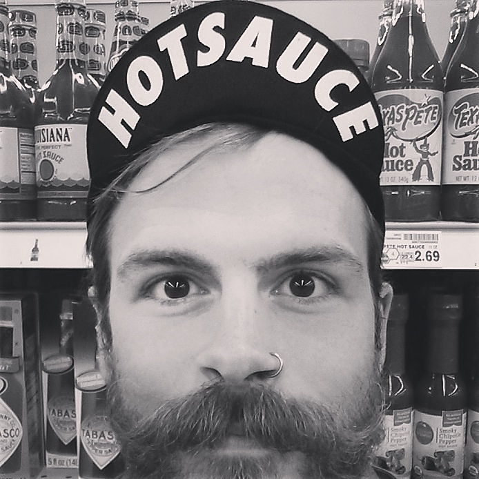 Hot Sauce finding himself in the right aisle in a Belgium market.