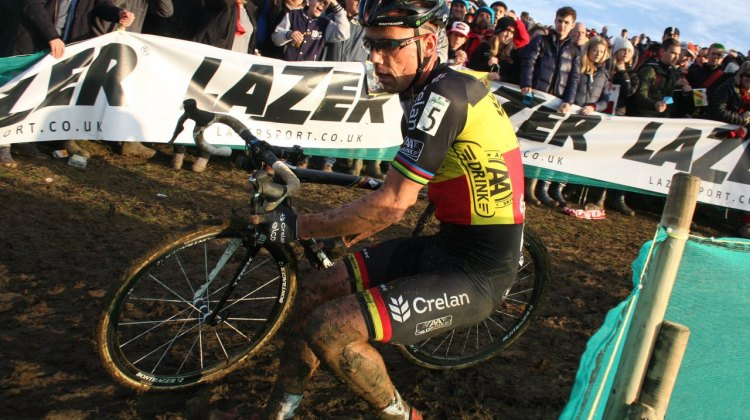 Sven Nys making the turn at the Milton Keynes World Cup cyclocross event. © Bart Hazen / Cyclocross Magazine