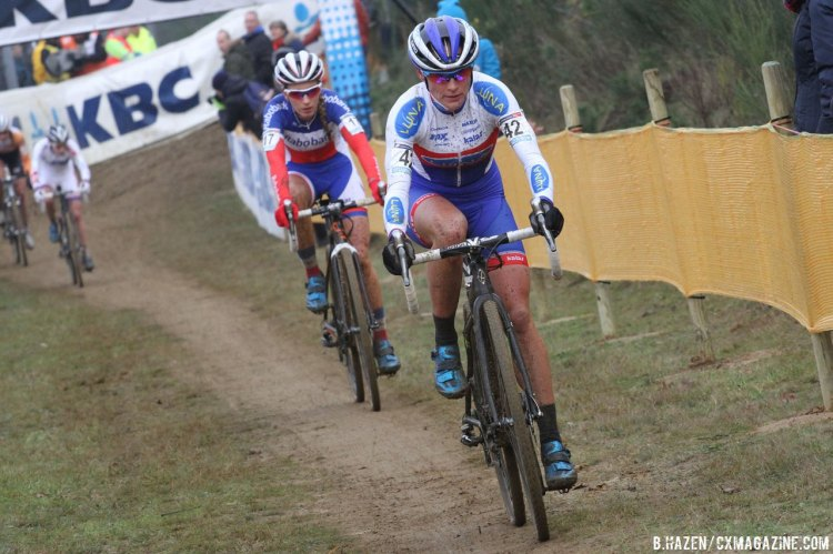 Katerina Nash and Pauline Ferrand Prevot battled each other for the length of the last 2/3rds of the race. © Bart Hazen/Cyclocross Magazine