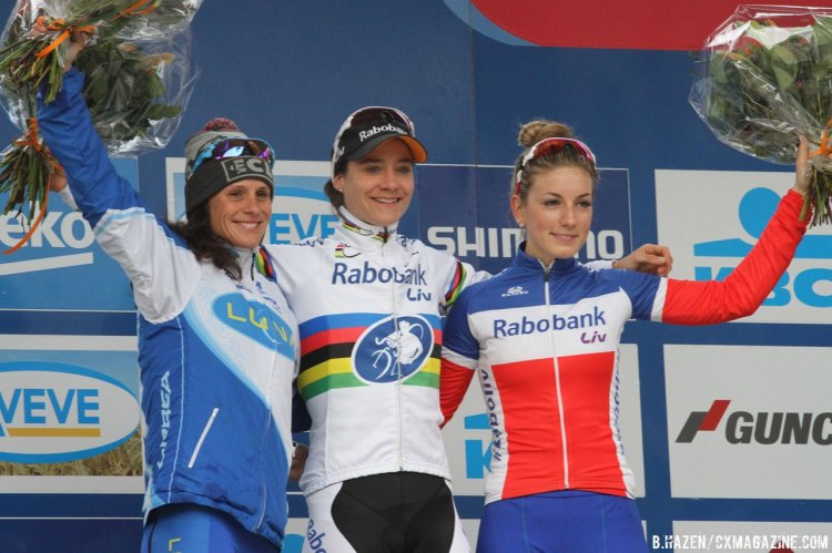 Vos, Nash and Ferrand Prevot made the women's podium at today's World Cup race. © Bart Hazen/Cyclocross Magazine