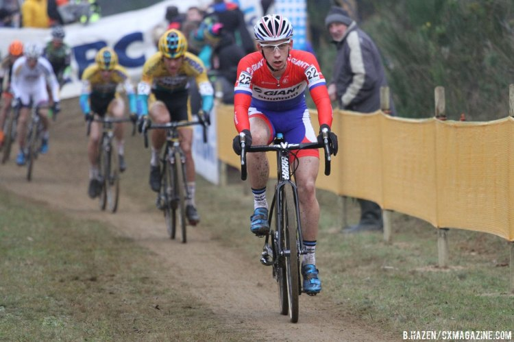 In the early goings, Meeusen gave Van der Haar chase at the head of the field. © Bart Hazen/Cyclocross Magazine