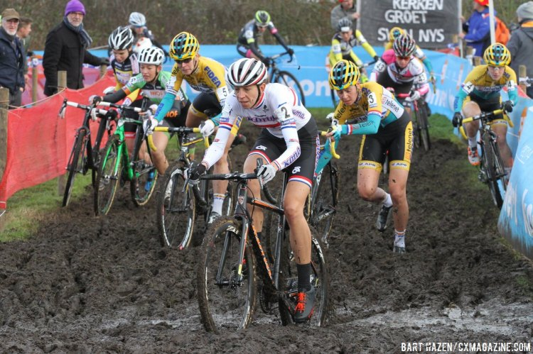 Wyman spent some time leading the pack early on at BPost in Essen. © Bart Hazen/Cyclocross Magazine