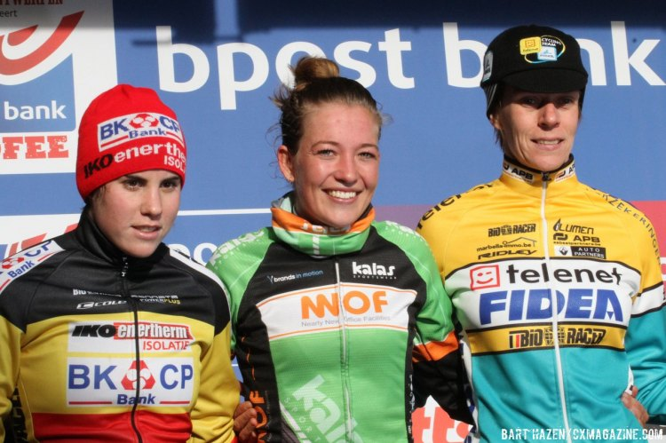 The BPost Bank at Essen's women's podium was led by De Boer, who was joined by Cant and Van Loy. © Bart Hazen/Cyclocross Magazine