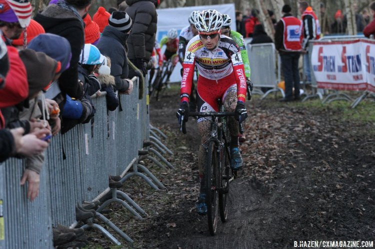 Kevin Pauwels attempted a strong-counter attack to chase down the leaders in the race. © Bart Hazen/Cyclocross Magazine