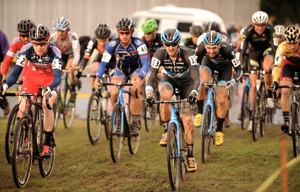 A strong field lined up for the MFG Cyclocross Waves For Water Cross Collaboration for Project Liberia at the Marymount Event Center in Tacoma, WA. ©Matthew J. Clark/StraightEIGHTFilms.com