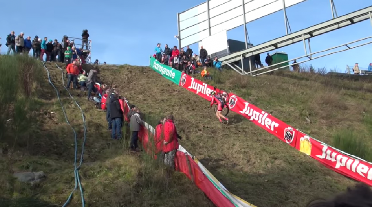 Haley ascends the brutal climb at Spa-Francorchamps, representing the United States to make the podium. Photo grabbed from footage by Olivier Iserbyt