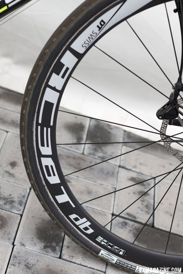 DT Swiss RC 38 Spline T wheels weigh in at a claimed 1310g for the set. © Cyclocross Magazine