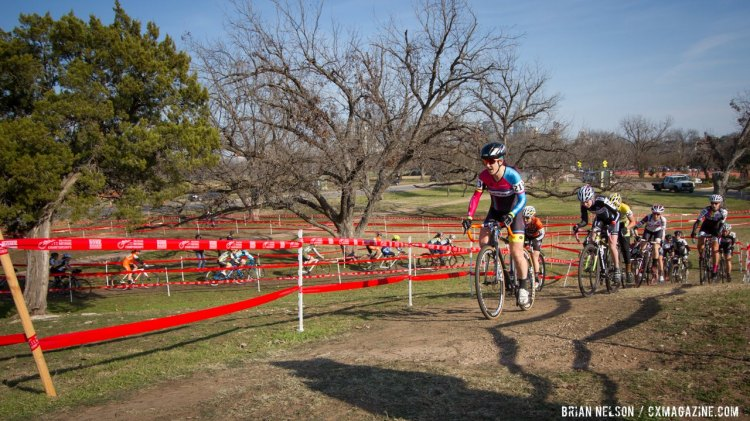 Jessica Cutler leads the charge up the hill on lap one of the 2015 Singlespeed Cyclocross National Championships. © Brian Nelson / Cyclocross Magazine