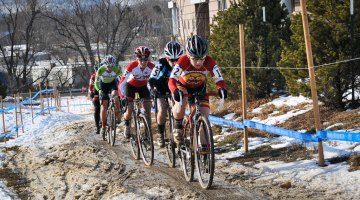 The leading group on Lap 1 of the 2014 Cyclocross National Championship singlespeed race. © Steve Anderson