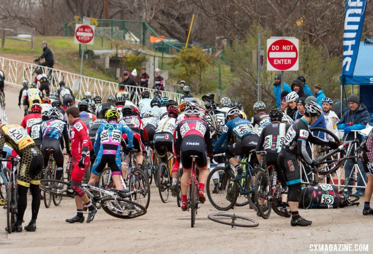 There was a big crash heading down the start in the Masters 40-44 race. © Cyclocross Magazine