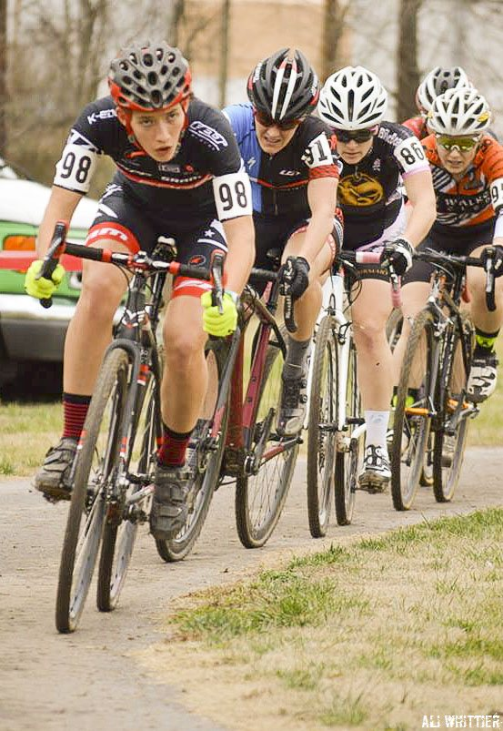 Hannah Arensman leads the chase of her sister Allison. 2015 Kingsport Cyclocross Cup. © Ali Whittier