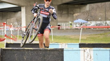 Allison Arensman looking confident in the lead - 2015 Kingsport Cyclocross Cup. © Ali Whittier