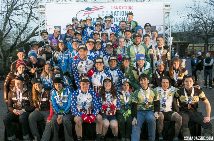 Your Collegiate Division 1 Omnium Podium - 2015 Cyclocross National Championships Podium © Cyclocross Magazine (full res avail for purchase - email crosseyed@cxmagazine.com )