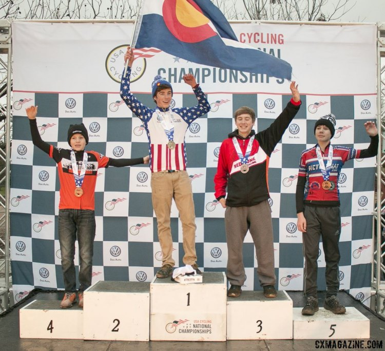 Junior Men 13-14 2015 Cyclocross National Championships Podium © Cyclocross Magazine (full res avail for purchase - email crosseyed@cxmagazine.com )