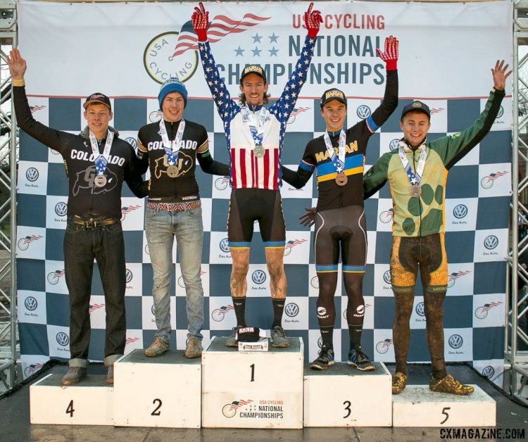 Collegiate D1 Men 2015 Cyclocross National Championships Podium © Cyclocross Magazine (full res avail for purchase - email crosseyed@cxmagazine.com )