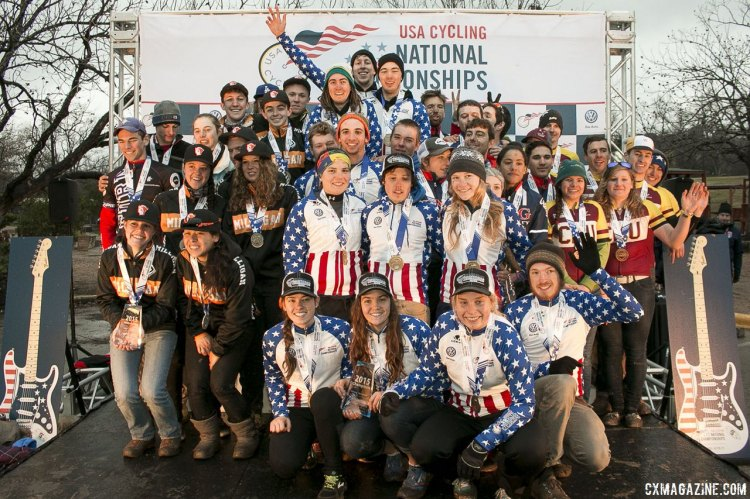 Your Collegiate Division 2 Omnium Podium - 2015 Cyclocross National Championships Podium © Cyclocross Magazine (full res avail for purchase - email crosseyed@cxmagazine.com )