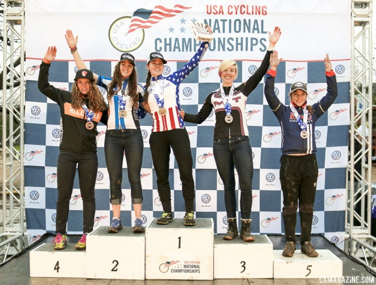 Collegiate D2 Women - 2015 Cyclocross National Championships Podium © Cyclocross Magazine (full res avail for purchase - email crosseyed@cxmagazine.com )