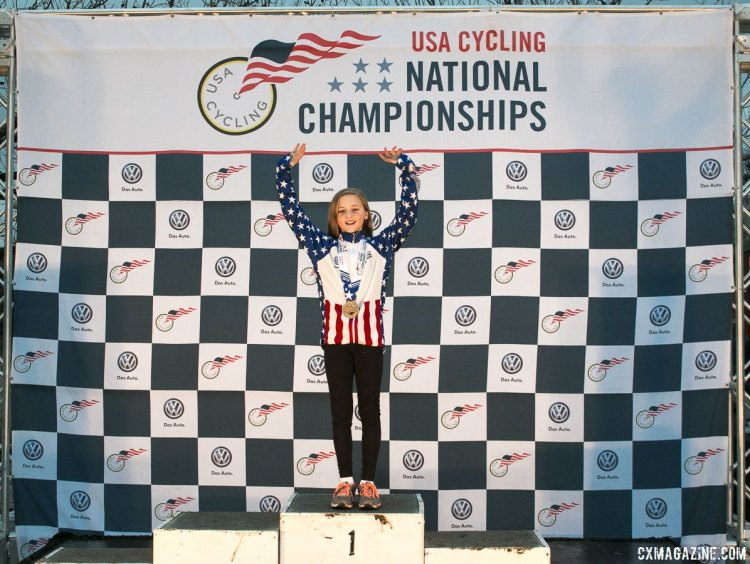 Lizzy Gunsalus had a second try at her own Junior 11-12 Women's podium 2015 Cyclocross National Championships Podiums © Cyclocross Magazine (full res avail for purchase - email crosseyed@cxmagazine.com )