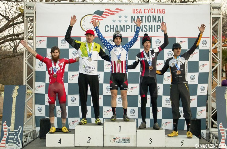The singlespeed men's podium at the 2015 Cyclocross National Championships: Uhl, Neff, Lindine, Allen, and Heithecker. © Cyclocross Magazine