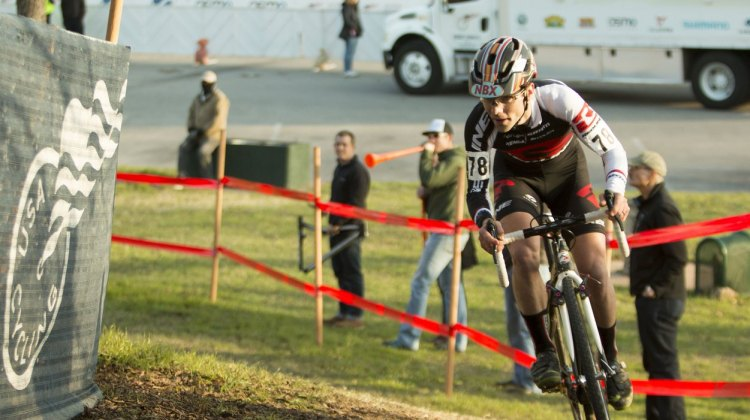 Justin Lindine purposely pushed hard through the ups and downs in attempt to gap the field. 2015 Cyclocross National Championships - Singlespeed Men. © Cyclocross Magazine
